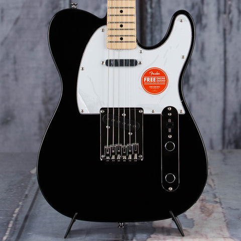 Squier Affinity Series Telecaster Electric Guitar, Black, front closeup