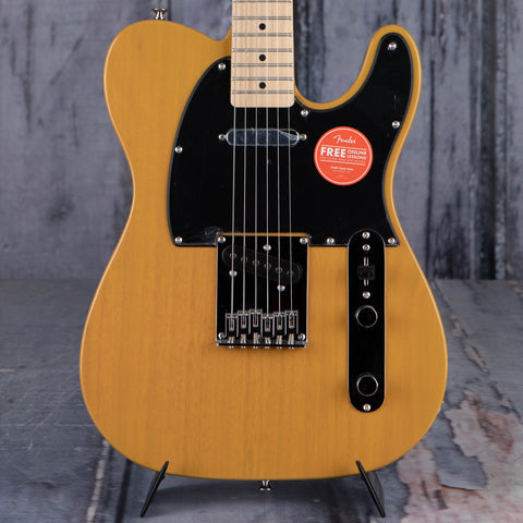 Squier Affinity Series Telecaster Electric Guitar, Butterscotch Blonde, front closeup