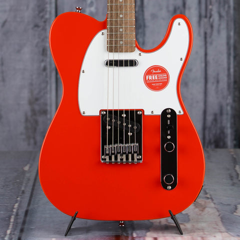 Squier Affinity Series Telecaster Electric Guitar, Race Red, front closeup
