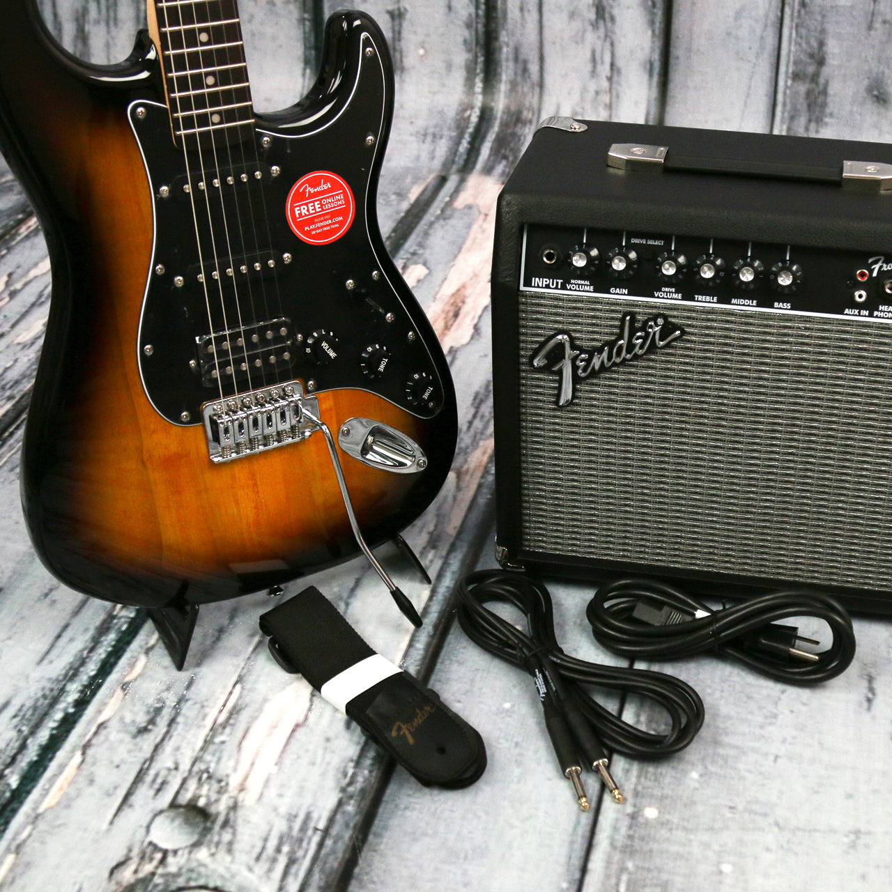 squier affinity strat hss brown sunburst pack for sale replay guitar