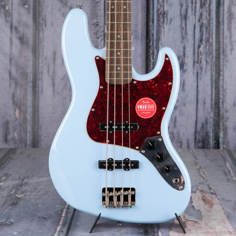 Squier Classic Vibe '60s Jazz Bass Guitar, Daphne Blue, front closeup