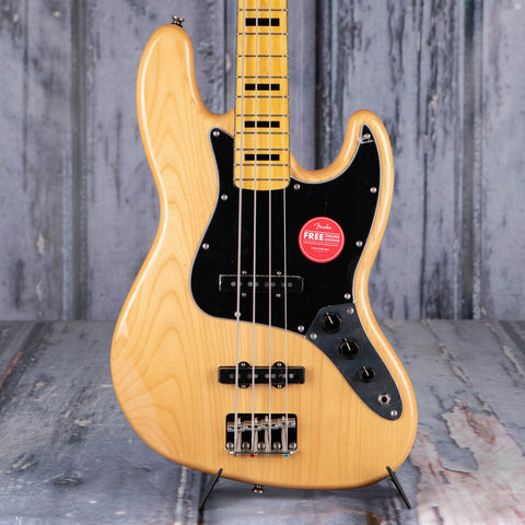 Squier Classic Vibe '70s Jazz Bass Guitar, Natural, front closeup