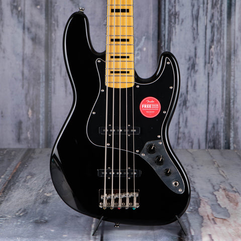 Squier Classic Vibe '70s Jazz Bass Guitar V, Black, front closeup
