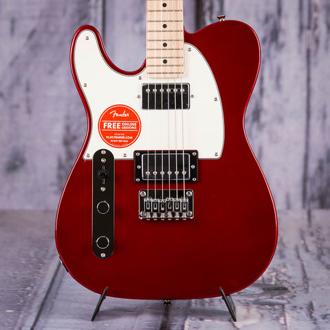 Squier Contemporary Lefty Telecaster Electric Guitar, HH, Dark Metallic Red, front closeup
