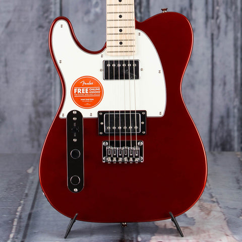 Squier Contemporary Telecaster Left-Handed Electric Guitar, Dark Metallic Red, front closeup