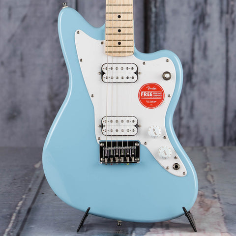 Squier Mini Jazzmaster HH Electric Guitar, Daphne Blue, front closeup