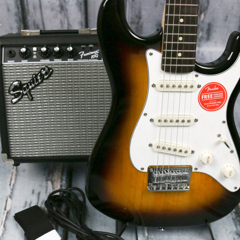 Squier Short Scale Brown Sunburst Strat Pack