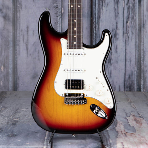 Suhr Classic S Electric Guitar, HSS, 3-Tone Burst, front closeup
