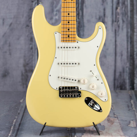 Suhr Classic S Electric Guitar, SSS, Vintage Yellow, front closeup