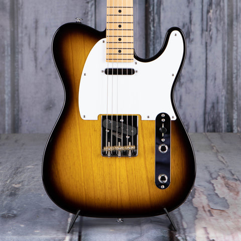 Suhr Classic T Electric Guitar, 2 Tone Tobacco Burst, front closeup