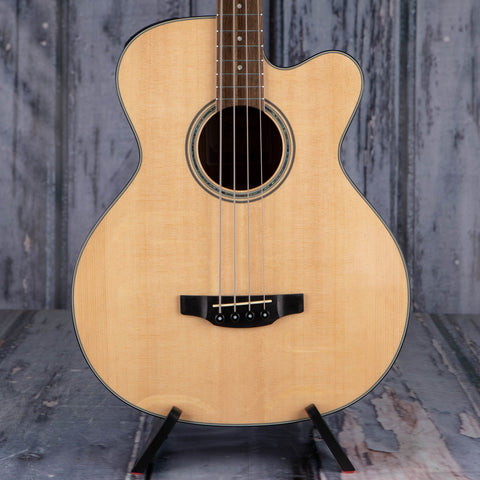Takamine GB30CE Acoustic/Electric Bass Guitar, Natural, front closeup
