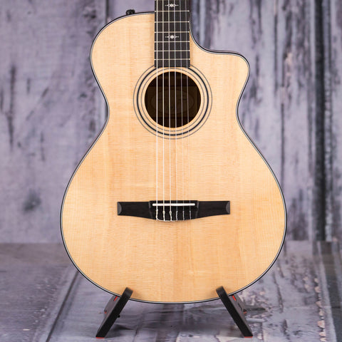 Taylor 312ce-N V-Class Acoustic/Electric Classical Guitar, Natural, front closeup