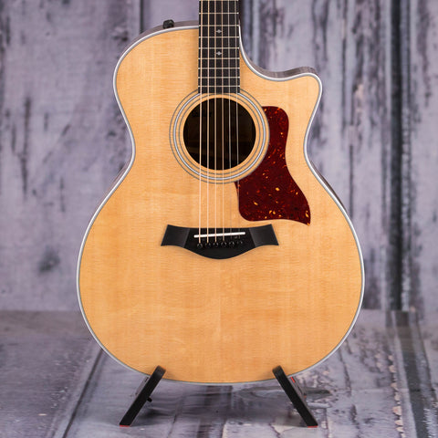 Taylor 414ce V-Class Acoustic/Electric Guitar, Natural, front closeup