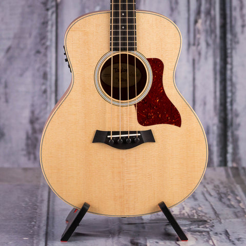 Taylor GS Mini-e Acoustic/Electric Bass Guitar, Natural, front closeup