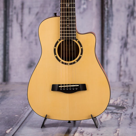 Traveler Camper CS-10 Acoustic Guitar, Natural Spruce, front closeup