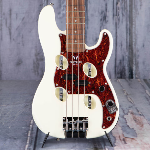 Traveler Guitar TB-4P Bass Guitar, Pearl White, front closeup