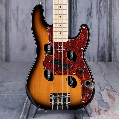 Traveler Guitar TB-4P Bass Guitar, Sunburst, front closeup
