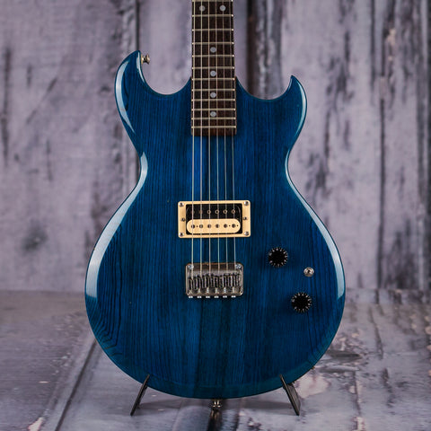 Used Aria Pro II Cardinal Series Electric Guitar, Teal, front closeup
