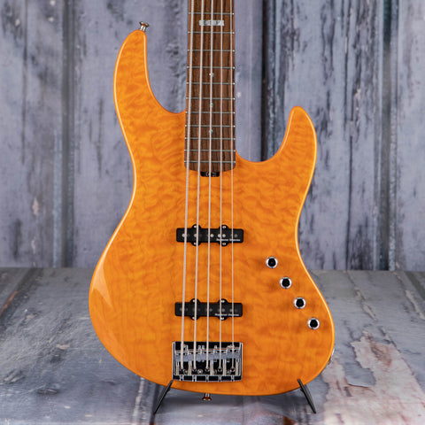 Used ESP E-II J5 5-String Electric Bass Guitar, Quilt Amber, front closeup