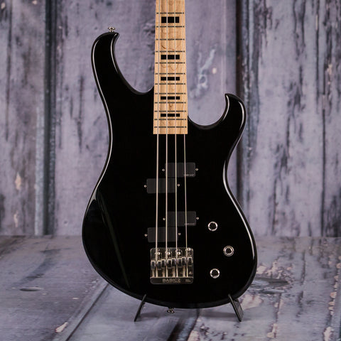 Used Electra Phoenix Bass Guitar, Gloss Black, front closeup