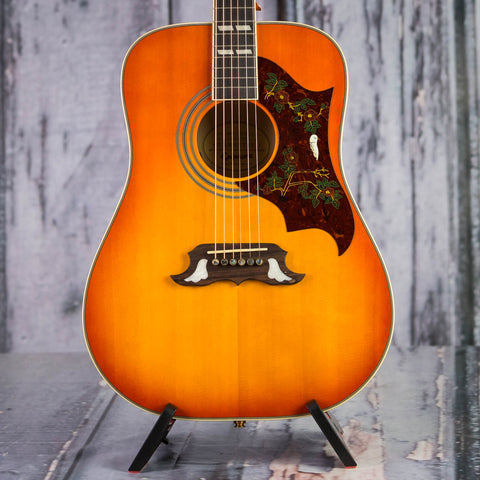 Used Epiphone Dove Pro Acoustic/Electric Guitar, Violin Burst, front closeup