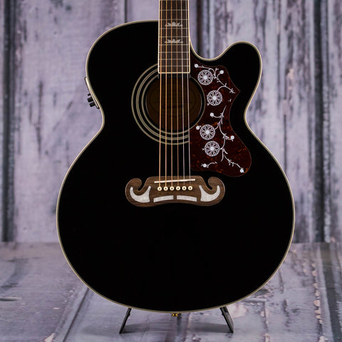 Used Epiphone EJ-200SCE Acoustic/Electric Guitar, Black, front closeup