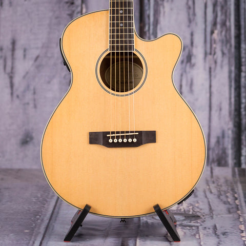 Used Epiphone PR-4E Acoustic/Electric Guitar Player Pack, Natural, front closeup