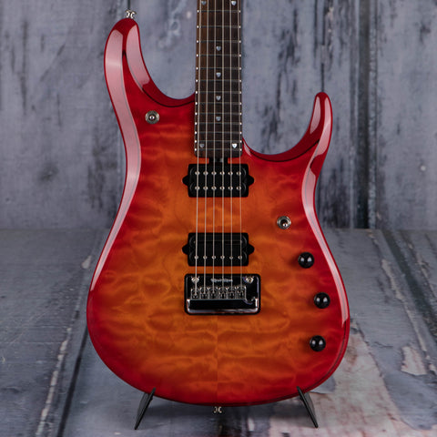 Used Ernie Ball Music Man BFR JP15 John Petrucci Signature Electric Guitar, 2013, Cherry Burst Quilt, front closeup