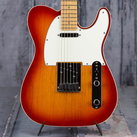 Used Fender American Deluxe Telecaster Electric Guitar, 2006, Aged Cherry Sunburst, front closeup