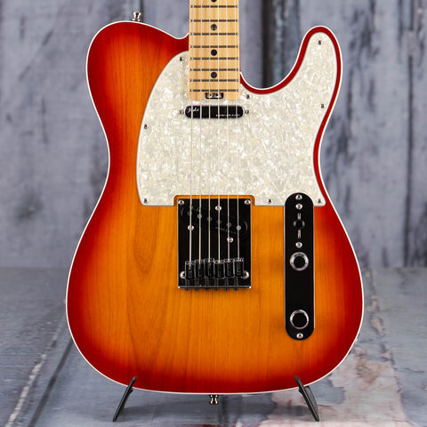Used Fender American Elite Telecaster Electric Guitar, 2017, Aged Cherry Burst, front closeup