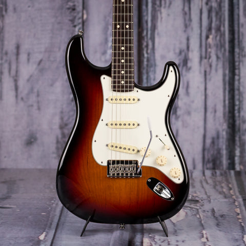 Used Fender American Standard Stratocaster, 2016, Three Color Sunburst, front closeup