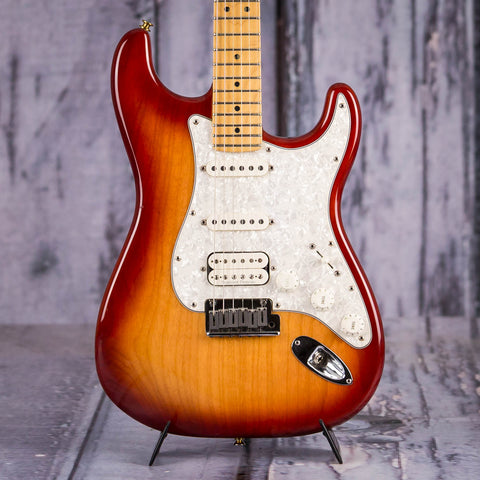 Used Fender American Standard Stratocaster Electric Guitar, Aged Cherry Burst, front closeup