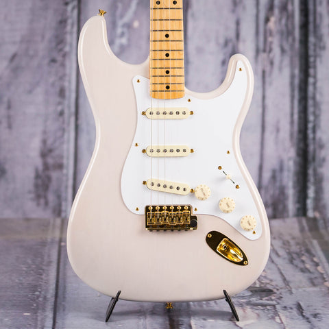 Used Fender American Vintage 1957 Commemorative Stratocaster Electric Guitar, 2007, White Blonde, front closeup