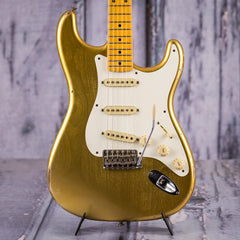 Used 2015 Fender CS 1957 Stratocaster Relic, Firemist Gold Metallic