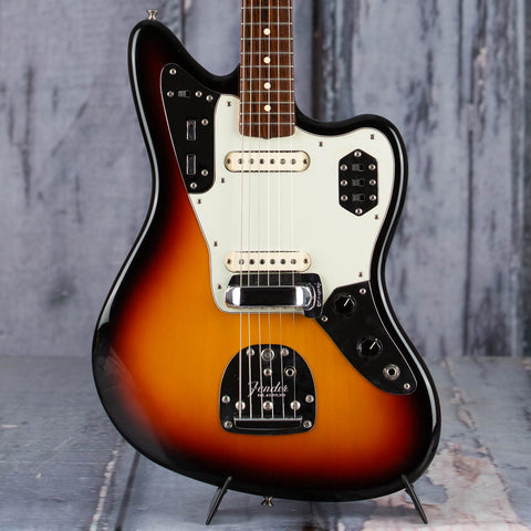 Used Fender Custom Shop Custom '62 Jaguar Stratocaster Electric Guitar, 2000, 3-Color Sunburst, front closeup