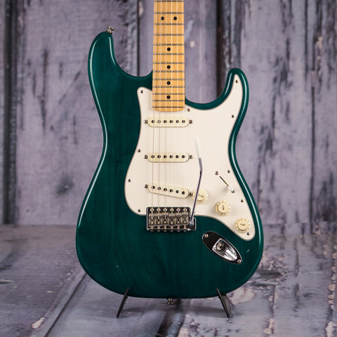Used Fender Highway One Stratocaster, 2002, Transparent Green, front closeup