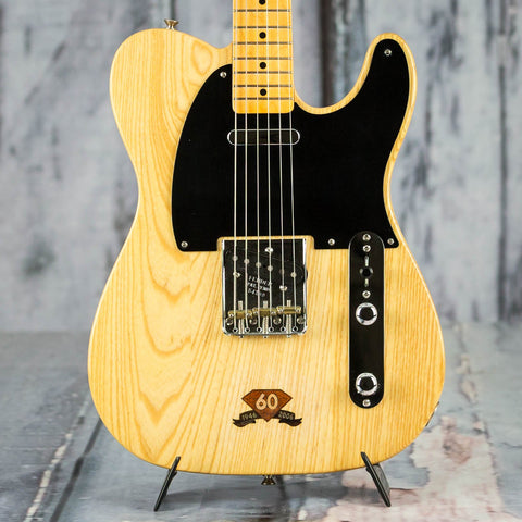 Used Fender Limited Edition 60th Anniversary Telecaster Electric Guitar, 2006, Natural, front closeup