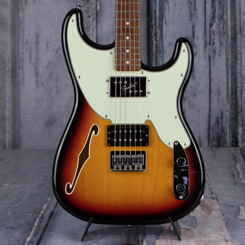 Used Fender Pawn Shop '72 Stratocaster Semi-Hollowbody Electric Guitar, 3-Color Sunburst, front closeup