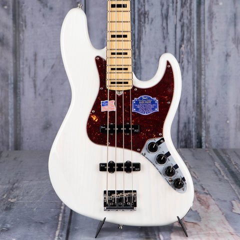 Used Fender American Deluxe Jazz Bass Guitar, 2015, White Blonde, front closeup