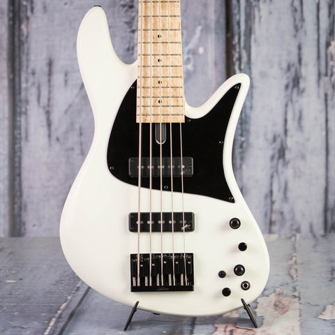 Used Fodera Emporer J 5 Classic 5-String Electric Bass Guitar, Olympic White, front closeup