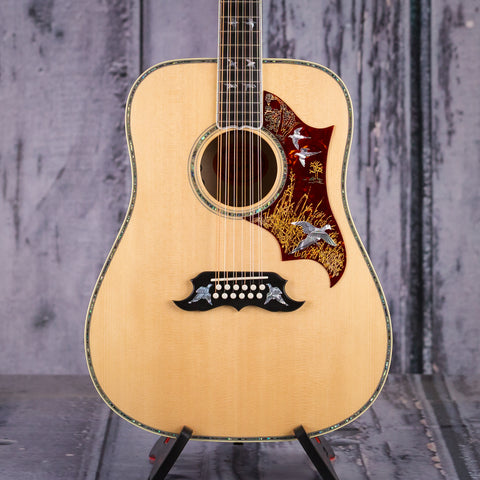 Used Gibson Custom Shop Doves In Flight 12-String Acoustic Guitar, Antique Natural, front closeup
