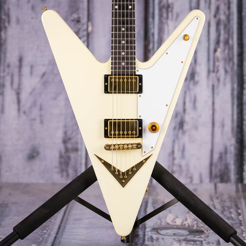 Used Gibson Limited Edition Reverse Flying V Electric Guitar, 2007, Vintage White With Gold Hardware, front closeup