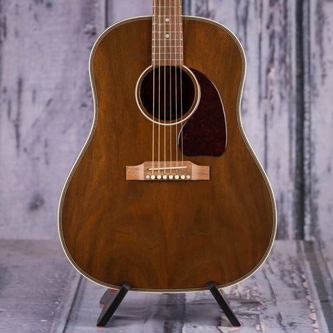 Used Gibson USA J-45 Herringbone All Walnut Acoustic/Electric Guitar, 2018, Antique Natural, front closeup