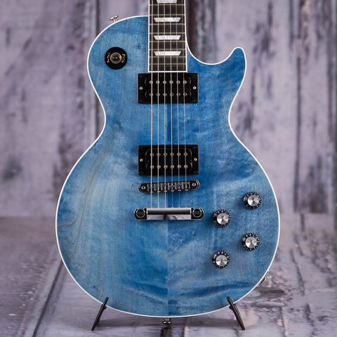 Used Gibson USA Les Paul Classic Player Plus Electric Guitar, 2018, Satin Ocean Blue, front closeup
