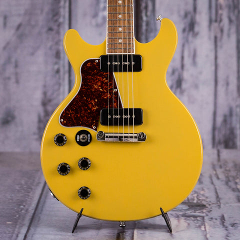 Used Gibson USA Les Paul Special Double Cut Lefty Electric Guitar, 2018, TV Yellow, front closeup