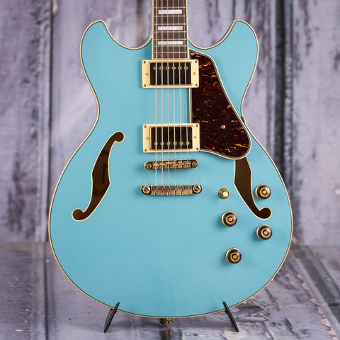 Used Ibanez Artcore Series AS73G Semi-Hollowbody Electric Guitar, Mint Blue, front closeup