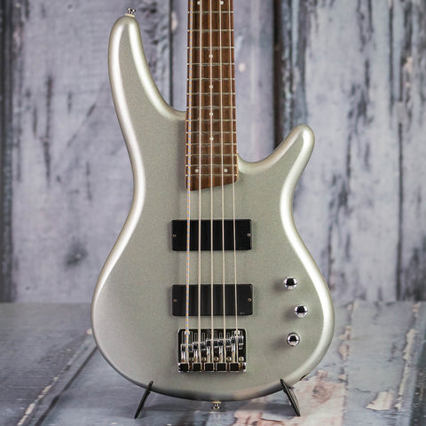 Used Ibanez SR305DX 5-String Electric Bass Guitar, 2004, Silver Sparkle, front closeup