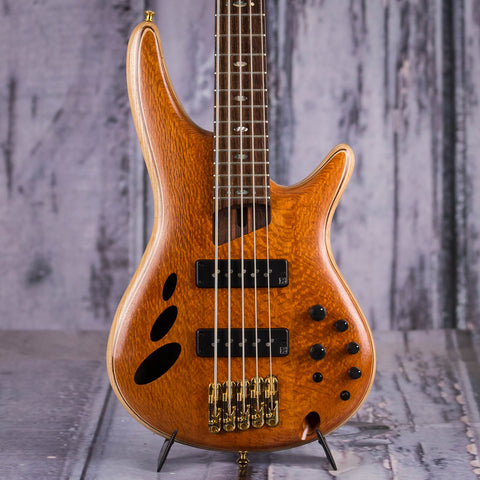 Used Ibanez SR30TH5PII 30th Anniversary Semi-Hollowbody 5-String Electric Bass Guitar, 2017, Natural Low Gloss, front closeup