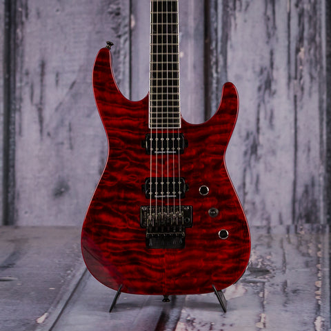 Used Jackson Pro Series Soloist SL2Q Electric Guitar, 2014, Transparent Red, front closeup