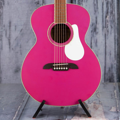 Used Limited Edition Alvarez RF22SRS Acoustic Guitar, 2017, Satin Pink, front closeup